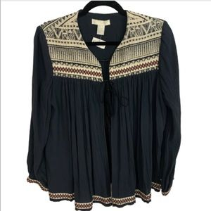 NWT Embroidered Cape Poncho Top Size 8 -  237